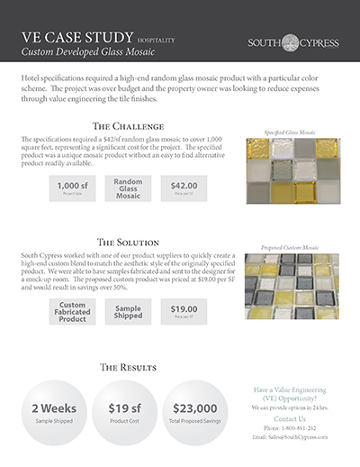 High-end boutique hotel custom mosaic finish project cuts cost by half
